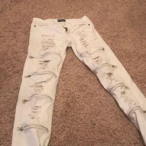 All white skinny jeans